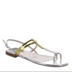 FENDI  Metallic Leather Toe Strap Sandal